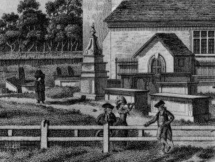 detail of St Pancras old church vintage print