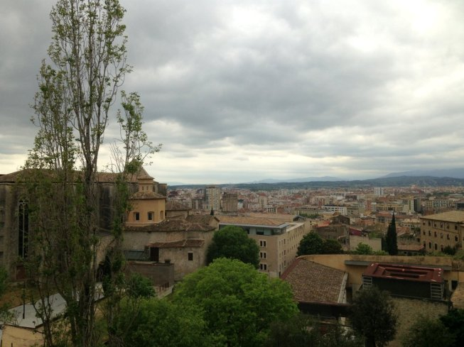 Old city of Girona stands on the steep hill of the Capuchins
