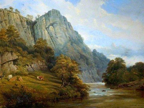 Reinagle, Ramsay Richard, 1775-1862; Matlock Bath, High Tor, Derbyshire