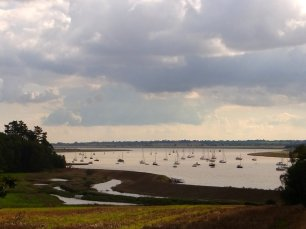 boats on the river Deben, Ramsholt, Suffolk